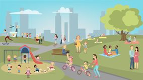 People in park. People in park having fun and resting. Children and teens, adults and seniors vector illustration