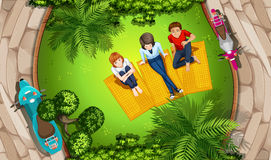 People and park stock illustration