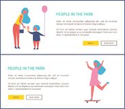 People Park Mother Daughter Entertain, Girl Riding. People in park, mother with daughter entertain, girl riding on skateboard web sites. Woman with bag bought vector illustration