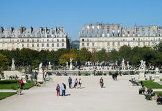 People in the park near Louvre in Paris. France Royalty Free Stock Photos