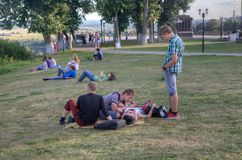 People in the park near Uspensky cathedral, Vladimir city, Russia Royalty Free Stock Photo