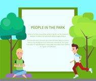 People in Park Poster and Form Vector Illustration. People in park poster and filling form wit headline and text sample, meditation and yoga, jogging and Stock Image