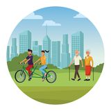 People in the park. Riding bicicle old man and woman walking skyscrapers silhouette cityscape round icon vector illustration graphic design vector illustration