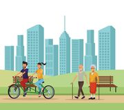 People in the park. Riding bicicle old man and woman walking skyscrapers silhouette cityscape vector illustration graphic design royalty free illustration