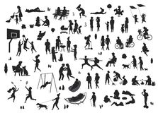 People in the park scenes silhouettes collection. People in the park scenes silhouettes set stock illustration