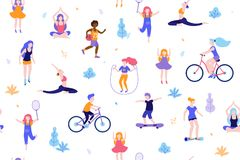 People in the park seamless pattern white background. Children doing activities and sports outdoor flat design vector royalty free illustration