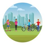 People in the park. Skateboarder riding bicicle skyscrapers silhouette cityscape round icon vector illustration graphic design royalty free illustration