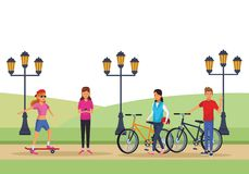 People in the park. Skateboarder riding bicicle with street light vector illustration graphic design royalty free illustration