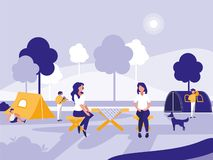 People in park with tents isolated icon. Vector illustration design vector illustration