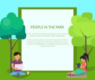 People in Park Using Modern Computer Technologies royalty free illustration