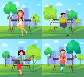 People in Park Using Modern Computer Technologies vector illustration