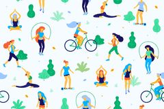 People in the park vector flat illustration. Women walk in the park and do sports, physical exercises. Park seamless. Pattern Royalty Free Stock Photos