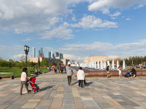 People in the park of the Victory in the May holidays, Moscow stock photography