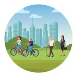 People in the park. Young riding bicicle old man businesswoman skyscrapers silhouette cityscape round icon vector illustration graphic design vector illustration
