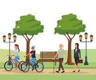 People in the park. Young riding bicicle old man businesswoman with street light vector illustration graphic design royalty free illustration