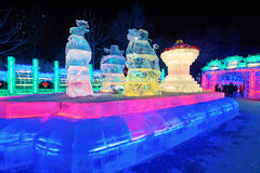The people and parterre ice lantern. The photo was taken in Zhaolin park   Harbin city Heilongjiang province,China Royalty Free Stock Photo