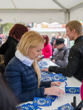 People participate in the information game in Europe Day in Tallinn. Royalty Free Stock Photography