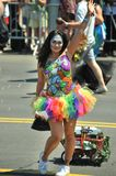 People participate in the 36th annual Mermaid Parade in Coney Island. NEW YORK, NY - JUNE 16: People participate in the 36th annual Mermaid Parade in Coney Royalty Free Stock Images