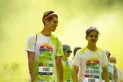 People participating in the Color Run in Prague royalty free stock photography