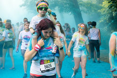 People participating in the Color Run in Prague Stock Image