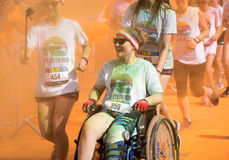 People participating in the Color Run in Prague royalty free stock photos