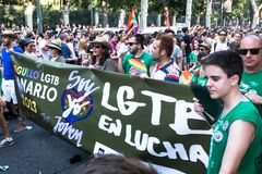 People participating on a demonstration at the Gay Pride parade in Madrid Royalty Free Stock Photography