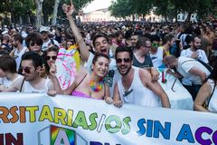 People participating on a demonstration at the Gay Pride parade in Madrid. MADRID, SPAIN - JULY, 6: People participaing on a demonstration at the Gay Pride royalty free stock photos