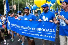 People participating on a demonstration at the Gay Pride parade in Madrid Stock Image