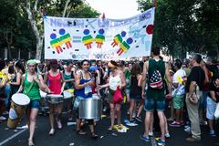 People participating on a demonstration at the Gay Pride parade in Madrid. MADRID, SPAIN - JULY, 6: People participaing on a demonstration at the Gay Pride stock photo