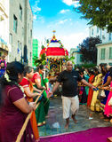 The people participating in Ganesh festival in Paris, France. Royalty Free Stock Images
