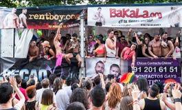 People participating at the Gay Pride parade in Ma. MADRID, SPAIN - JULY, 6: People participaing at the Gay Pride parade. Near 1,200,000 people from all over the Stock Photos