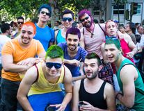 People participating at the Gay Pride parade in Madrid. MADRID, SPAIN - JULY, 6: People participaing at the Gay Pride parade. Near 1,200,000 people from all over stock images