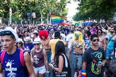 People participating at the Gay Pride parade in Madrid Royalty Free Stock Image