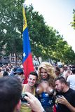 People participating at the Gay Pride parade in Madrid. MADRID, SPAIN - JULY, 6: People participaing at the Gay Pride parade. Near 1,200,000 people from all over royalty free stock photography
