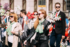 People participating in the parade dedicated to Royalty Free Stock Image