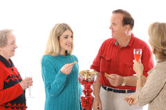 People at a party. Enjoying snacks isolated on a white background Stock Image