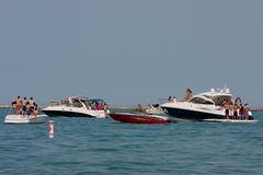 People Party On Boats In Lake Michigan Stock Photos