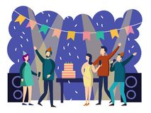 People cartoon party vector illustration Stock Illustration
