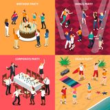 People At Party Isometric Design Concept. Isometric design concept with people at birthday party, dance evening, corporate celebration and beach isolated vector Royalty Free Stock Photos