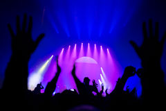 People partying. Silhouette of people partying in nightclub, raised up hands enjoying great musical show, live music performance, celebrating New Year royalty free stock images