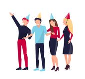 Partying People on Vector Illustration White Stock Image