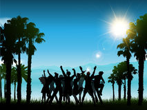 People partying in a tropical landscape Royalty Free Stock Photos