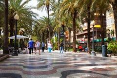 People at Paseo Explanada de Espana in Alicante Royalty Free Stock Photo