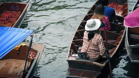 People Pass On Canal In Paddle And Motor Boats stock video