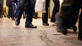People subway traffic. People pass through subway in rush hour stock video