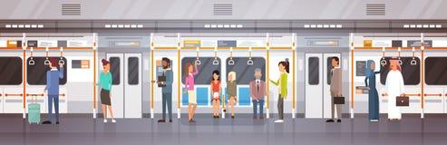People Passengers In Subway Car Modern City Public Transport, Underground Tram. Flat Vector Illustration Stock Image