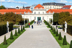People on path to Lower Belvedere Palaces, Vienna Royalty Free Stock Photo