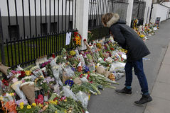 PEOPLE PAY TRIBUTE TO BRUSSELS VICTIMS Stock Photo