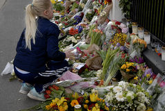 PEOPLE PAY TRIBUTE TO BRUSSELS VICTIMS Royalty Free Stock Photography