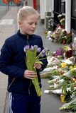PEOPLE PAY TRIBUTE TO BRUSSELS VICTIMS Stock Photos